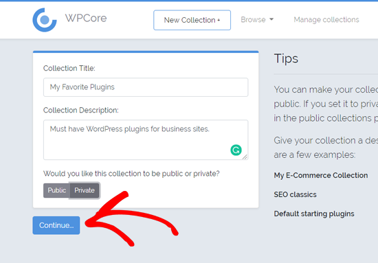 Crear una nueva colección de complementos en WPCore