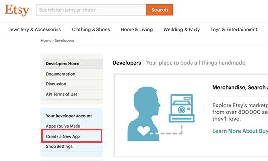 Crear nueva aplicación de Etsy
