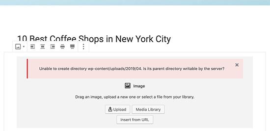 No se puede crear un error de directorio