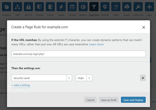 Cloudflare-də WordPress giriş səhifənizi qorumaq üçün səhifə qaydası yaradın