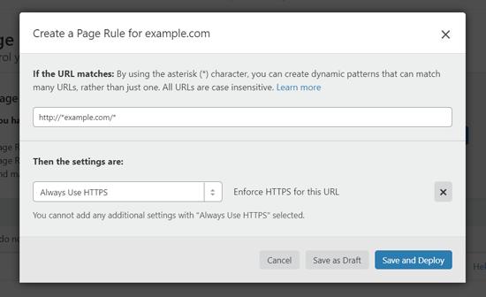 WordPress-də HTTPS-dən istifadə etmək üçün səhifə qaydası yaradın