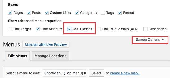 Habilitar la opción de clases CSS para elementos de menú individuales