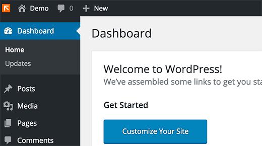 Logotipo personalizado en el panel de WordPress