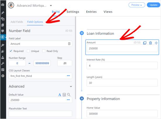 Personalización de las opciones de campo en el formulario de calculadora hipotecaria avanzada
