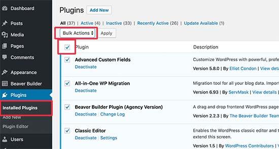 Desactiva todos los complementos a través del área de administración de WordPress