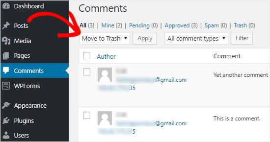 Eliminar todos los comentarios de WordPress