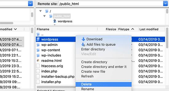 Eliminar el antiguo subdirectorio de wordpress