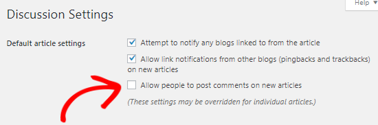 Desactivar comentarios en publicaciones futuras