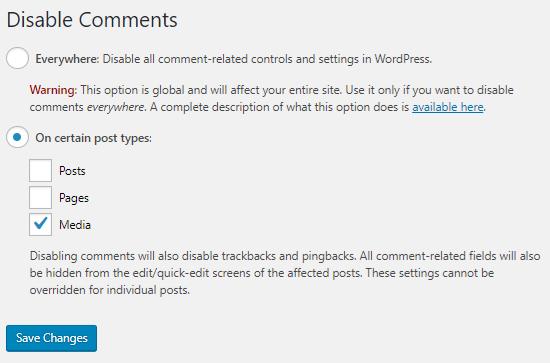 Deshabilitar la configuración del complemento de comentarios
