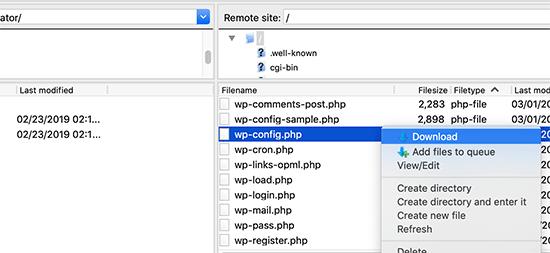 Wp-config.php faylını kompüterinizə yükləyin
