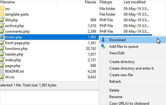 Descargar el archivo php de pie de página