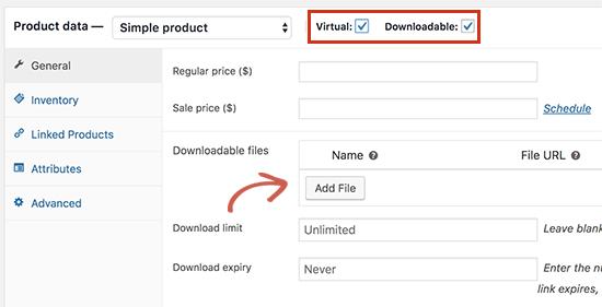 Thêm một sản phẩm có thể tải xuống trong WooC Commerce