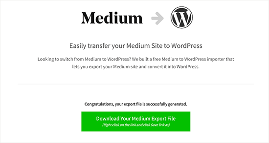 Descargue el archivo de exportación Medium compatible con WordPress