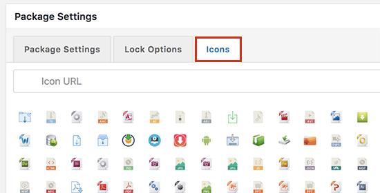 Seleccione el icono para mostrar junto a la descarga de su archivo