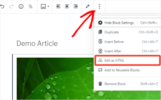 Opción Editar imagen como HTML para agregar clase CSS