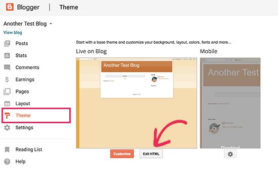 Editar tema de Blogger