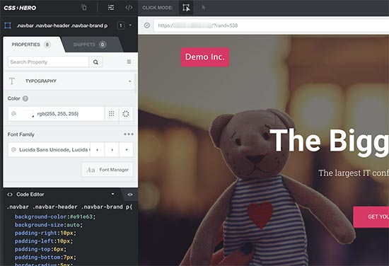 Edición de estilos para diferentes elementos usando CSS Hero