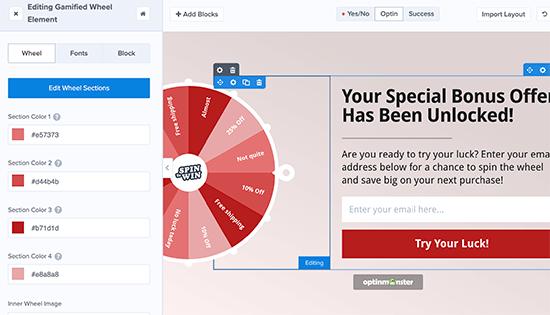 Editando tu campaña de rueda