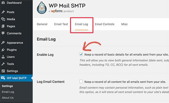 Activar registros de correo electrónico
