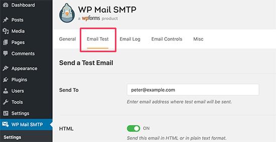 Probar la configuración de correo electrónico SMTP de WordPress