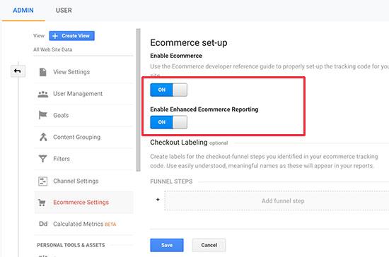 galluogi e-fasnach yn Google Analytics