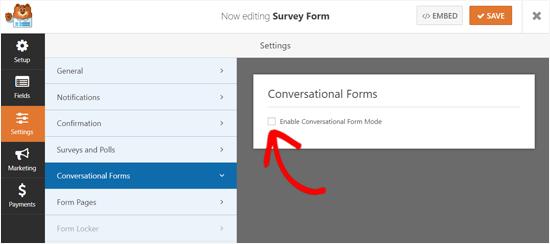 Aktivera formkonversationsläge i WPForms