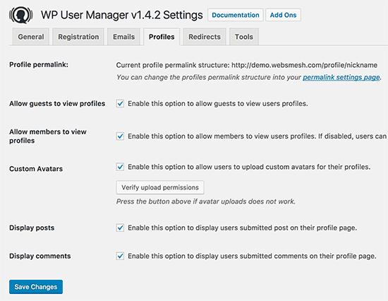 Configuración de la página de perfil de usuario