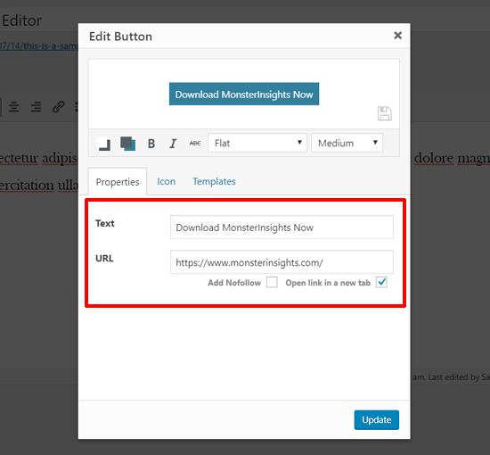 Introduzca el texto del botón y la URL en el Editor clásico