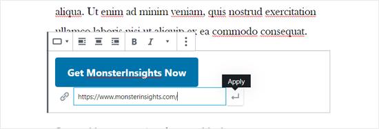 Ingrese el texto del botón y el enlace en WordPress