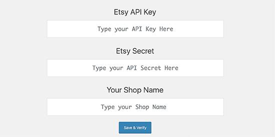 Nhập các phím cho ứng dụng Etsy