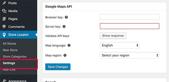 Ingrese las claves de Google Maps