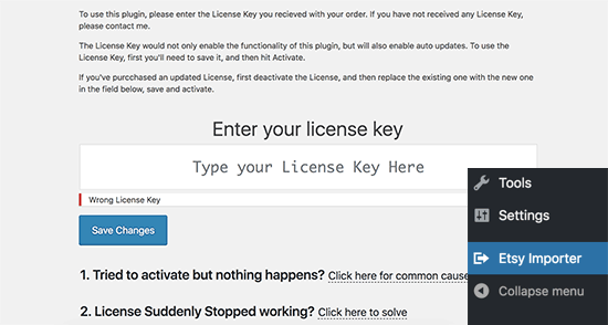 Khóa giấy phép nhập khẩu Etsy