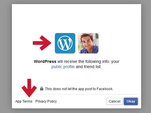 Facebook  permisos para usar la función Publicize en JetPack