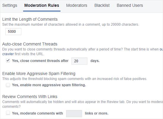Reglas de moderación de comentarios de FB