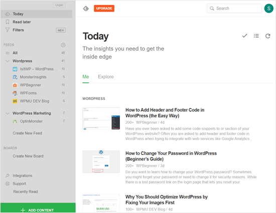 Sitio web de Feedly News Aggregator