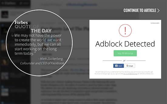 AdBlock wall en Forbes