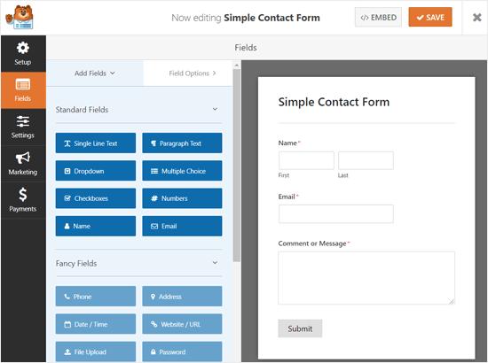 Arraste e solte o Construtor de formulários WPForms