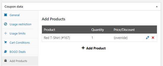 El producto gratuito que se muestra en la tabla de productos.