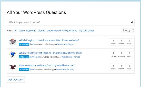 Vista previa de la página de preguntas