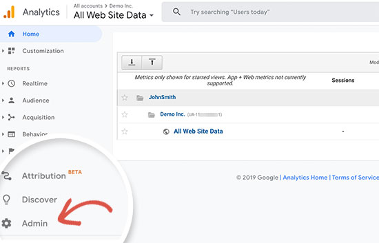 Administrador de Google Analytics
