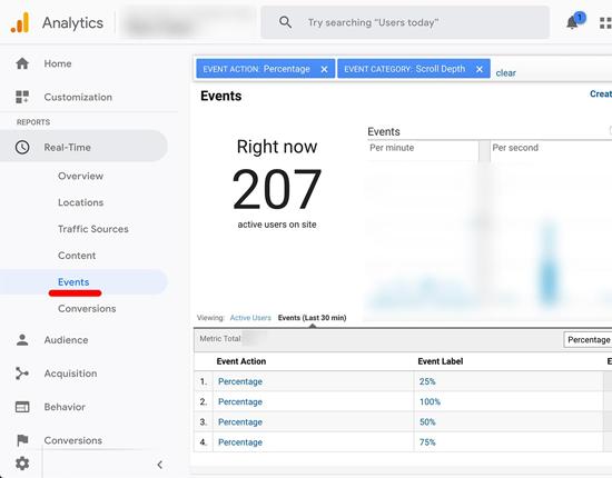 Seguimiento de desplazamiento de Google Analytics en tiempo real