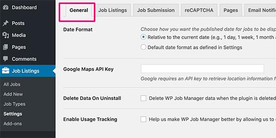 Configuraciones generales para WP Job Manager