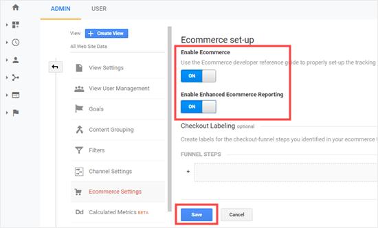 Habilitar la configuración de comercio electrónico en Google Analytics