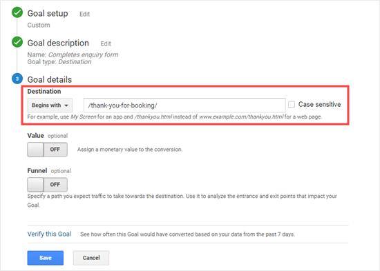 Ingresando la URL de destino para su objetivo de Google Analytics