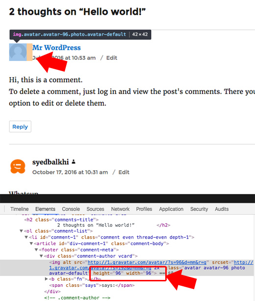 Tamaño de imagen Gravatar WordPress