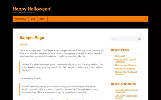 Tema de Halloween para WordPress