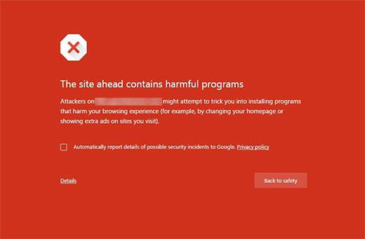 Ova web lokacija sadrži pogreške štetnih programa u pregledniku Google Chrome