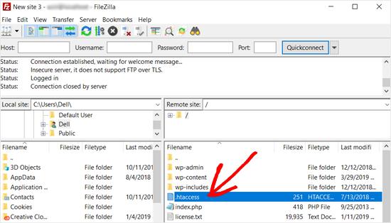 Archivo de WordPress .htaccess en Filezilla