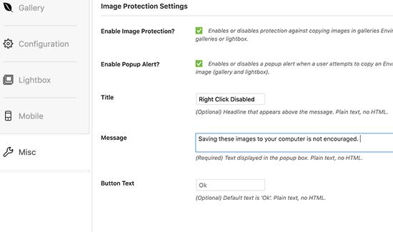 Configuraciones de protección de imagen