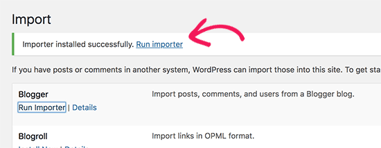 Ejecutar importador de Blogger